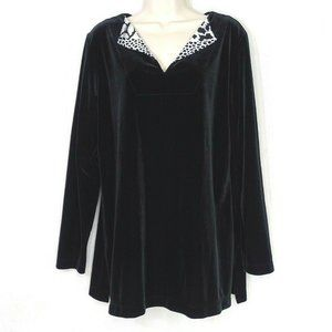 Chicos Velvet Velour Tunic Top Women Size 2 L 12